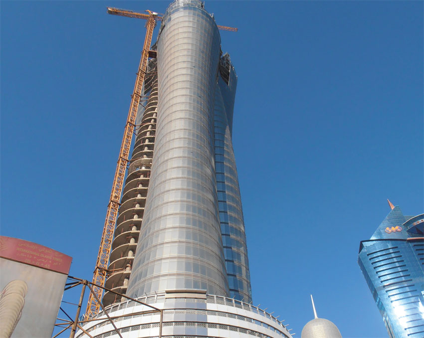 Steel Frame Towers : Main steel frame for iib tower podium facade coastal